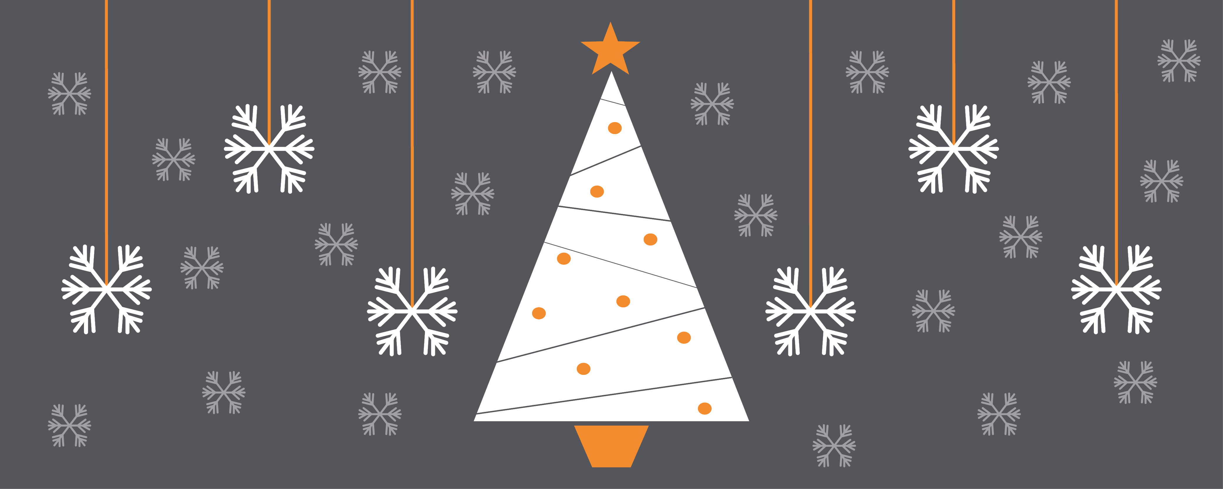 Seasons greetings snowflakes and Christmas tree in C&S branded colours