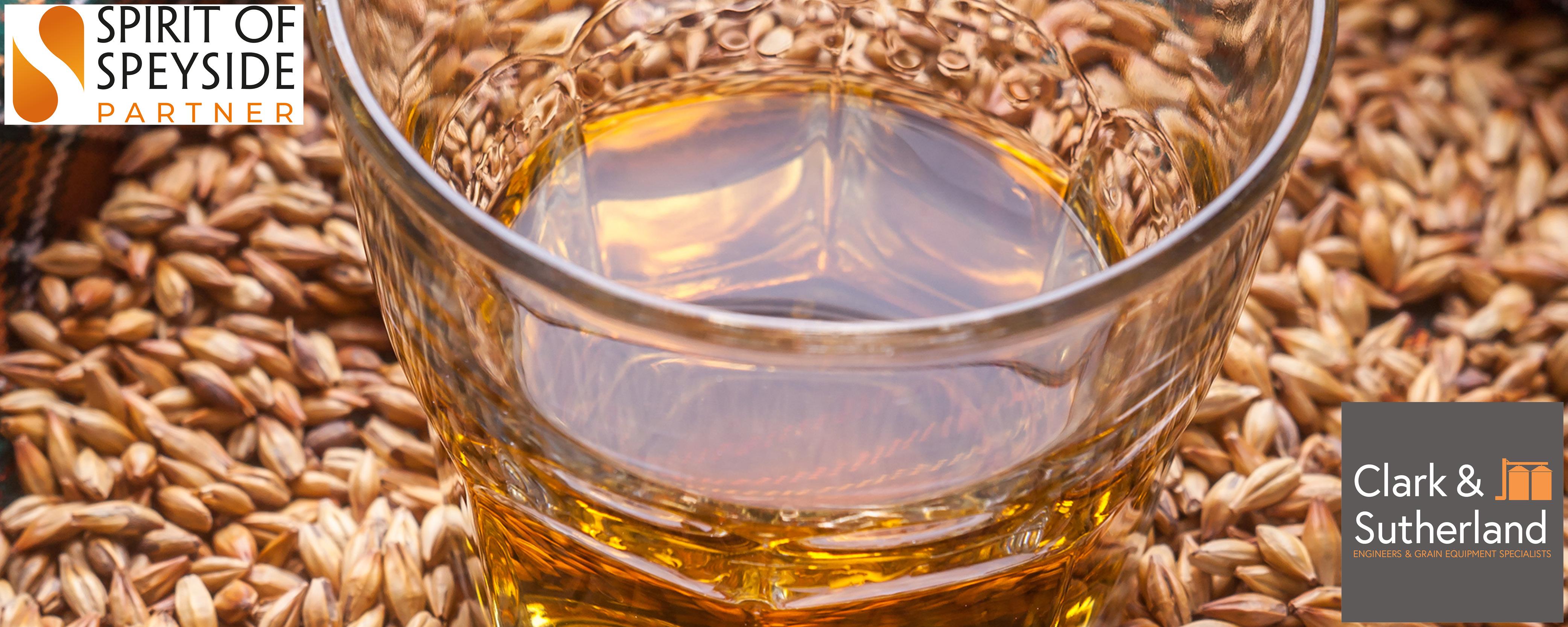Close up of whisky glass sitting on malt